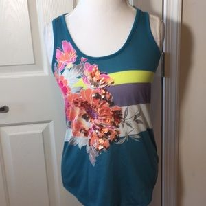 Express Tank Top Blue Floral Sequins Razorback S